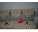 日 式纯棉沙发垫 ,暖桔千鸟格沙发垫