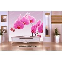 红色蝴蝶花电视背景墙 彩釉玻璃制作