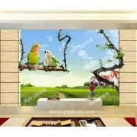 西安艺术玻璃电视背景墙