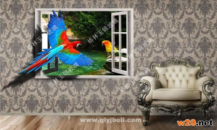 郑州彩釉玻璃背景墙鹦鹉图案效果图