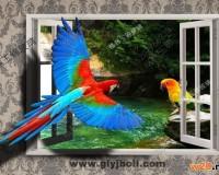 兰州彩釉玻璃背景墙鹦鹉图案效果图
