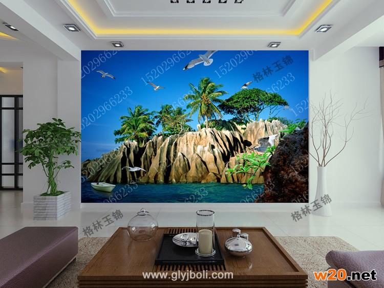 海岛电视背景墙效果图