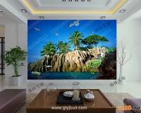 海岛背景墙效果图