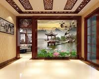 彩釉艺术玻璃背景墙效果图
