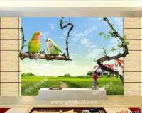 西安艺术玻璃电视背景墙 ()