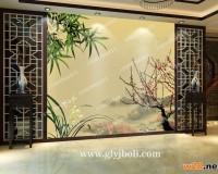 梅竹兰彩釉玻璃效果图