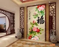 花开富贵 背景墙效果图