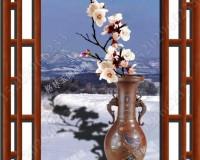 彩釉艺术玻璃梅花挂画 ()