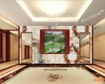 西安酒店大厅艺术玻璃背景墙