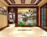 西安艺术玻璃玄关背景墙 ()
