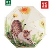 添奇雨伞个性漫画大懒猫折叠雨傘防紫外线晴雨两用伞三折伞雨伞女