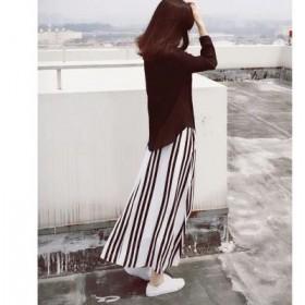 宽松大码欧美新款黑白竖条纹长裙雪纺