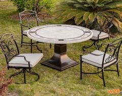 米白色大理石洞石圆形餐桌椅组合