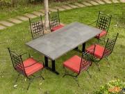 火烧岩大理石餐桌椅组合