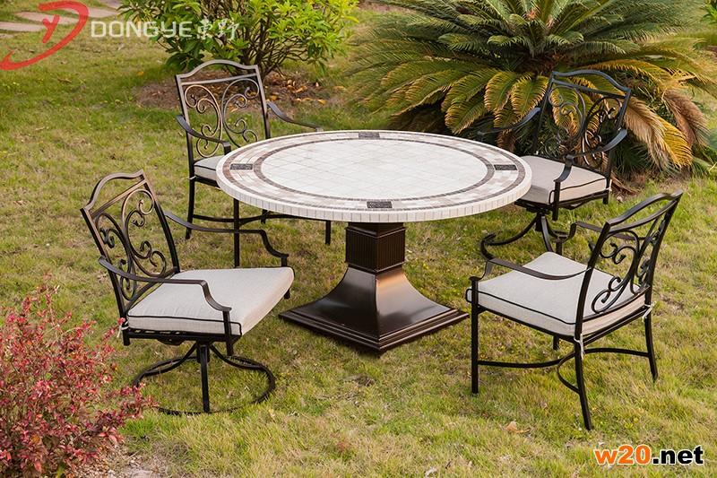 洞石户外餐桌