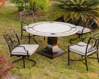 厦门户外休闲洞石圆桌面餐桌椅组合