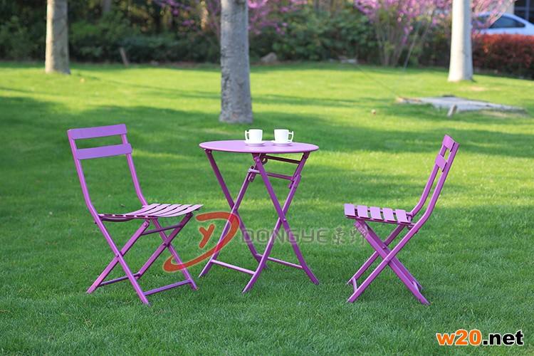 紫色户外休闲咖啡桌椅