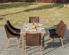 瓷砖餐桌搭配藤编椅子YTC681507