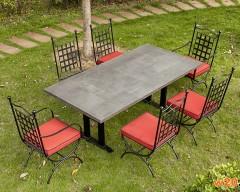 火烧岩桌面大理石餐桌-YT681429