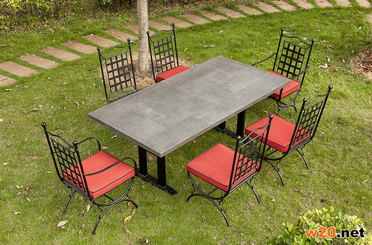 东野火烧岩桌面大理石餐桌-YT681429