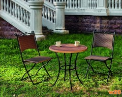 GRC桌面咖啡桌藤编椅组合