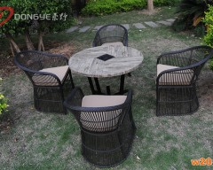 仿木纹餐桌带伞孔
