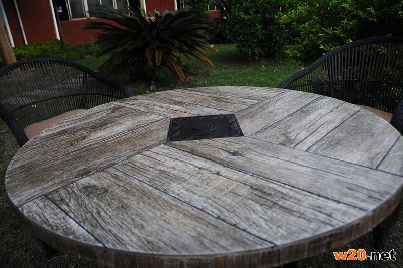 东野户外瓷砖圆形餐桌带伞孔YTC581601桌面