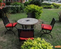 圆形带伞孔磁砖户外餐桌