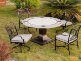 米白色洞石餐桌椅组合 ()