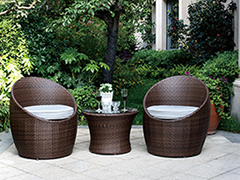 上海阳台藤编小桌椅三件套