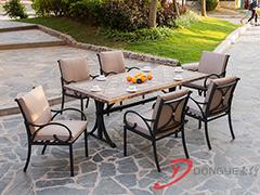上海花园大理石拼花餐桌椅