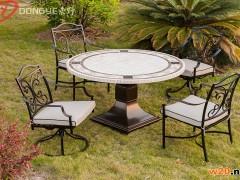 户外米白色洞石大理石餐桌椅组合