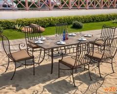 庭院家具红锈板岩餐桌铁艺椅子