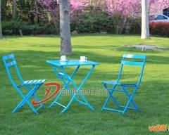 蓝色户外可折叠铁艺桌椅