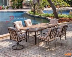 庭院细木纹桌面瓷砖拼花餐桌