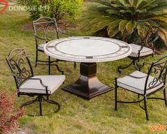 圆形洞石桌面餐桌椅组合