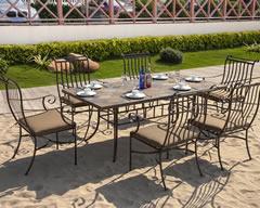 户外古铜花纹大理石拼花餐桌组合