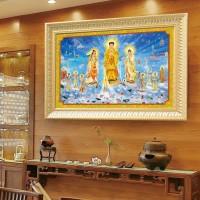 高清3D立体保平安佛像带框挂画西方三圣像画像阿弥陀佛接引图