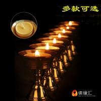 藏村牌纯铜供佛酥油灯座 佛前供灯长明灯烛台