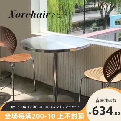 现代餐桌家用小户型不锈钢圆桌