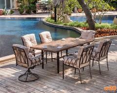 花园细木纹桌面瓷砖拼花餐桌-YTC681501